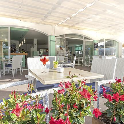 A detail of the terrace at restaurant Cafe & Sal, in Colonia de Sant Jordi